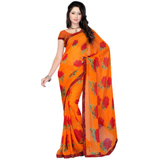 Fabdeal Orange  Red Colored Geogette Printed Saree QZTSR9111NH