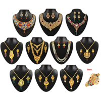 Jewelmaze Non Plated Traditional/Ethnic Combo of 10 Necklace Set 1 Kada For Women