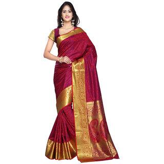 Varkala Silk Sarees Woven Kanjiwaram Big Border Paisley Pallu SareeRed and VioletJP7106RDV