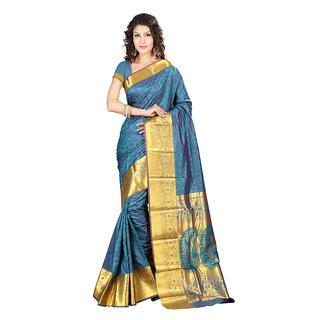 Varkala Silk Sarees Woven Kanjiwaram Big Border Paisley Pallu SareeRama and VioletJP7106RMV