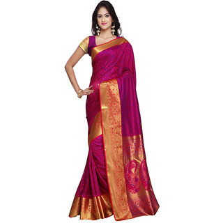 Varkala Silk Sarees Woven Kanjiwaram Big Border Paisley Pallu SareePink and VioletJP7106RNV