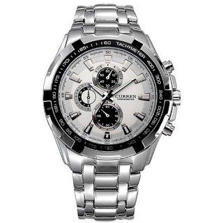 Curren Silver White Dial Metal Anloge Mes Watch