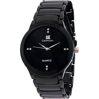 ikk Oval Dial Black Metal Strap Analog Men's Watch BY MISS