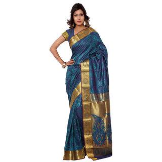 Varkala Silk Sarees Woven Kanchipuram Silk Abstract Paisley Zari Pallu sareeRama and VioletJP7107RMV
