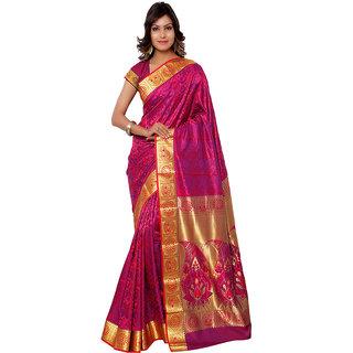 Varkala Silk Sarees Woven Kanchipuram Silk Abstract Paisley Zari Pallu sareePink and VioletJP7107RNV