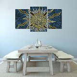 Wall Decor Flames Of Sun In Mosaic Printed Canvas