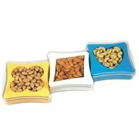 A Gift Set Of Plastic Dry Fruit Serving Tray With Set Of 3 Pcs.