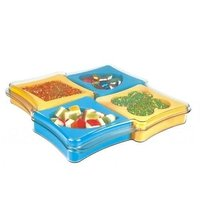 A Gift Set Of Plastic Dry Fruit Serving Tray With Set Of 4 Pc.