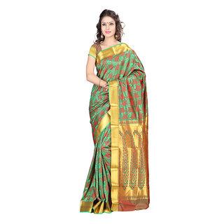 Varkala Silk Sarees Woven Art Silk Modern Paisley Rich Zari Pallu sareeGreen and VioletJP8103PGRD