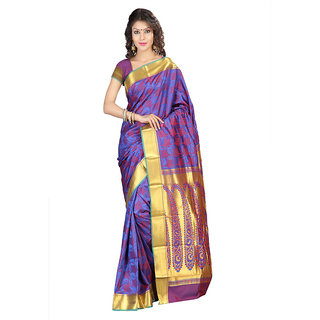 Varkala Silk Sarees Woven Art Silk Modern Paisley Rich Zari Pallu sareeRoyal Blue and RedJP8103RBRD