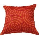 "Embroidered Vibrant Saffron Cushion Covers (16"")"