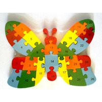 Wooden Butterfly Jigsaw Puzzle – Learn Alphabets & Numbers