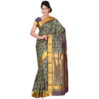 Varkala Silk Sarees Woven Art Silk Modern Paisley Rich Zari Pallu sareePastel Green and VioletJP8103SGV
