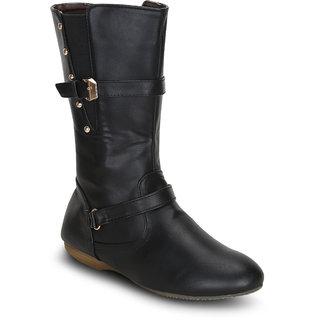 Kielz Women Black Zip Boots ]