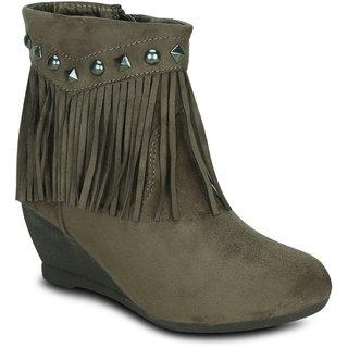 Kielz Women Brown Zip Boots ]
