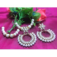 Flower pearl polki with free hoops earrings