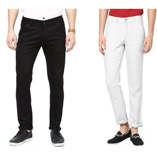 Flame Black & White Linen Lycra Slim Fit Chinos Set Of 2
