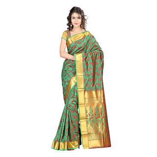 Varkala Silk Sarees Woven Art Silk Abstract Flower Rich Zari Pallu sareeGreen and RedJP8106PGRD