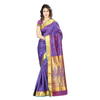 Varkala Silk Sarees Woven Art Silk Abstract Flower Rich Zari Pallu sareeRoyal Blue and RedJP8106RBRD