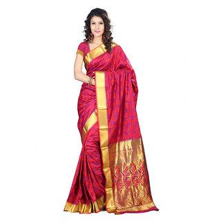 Varkala Silk Sarees Woven Art Silk Abstract Flower Rich Zari Pallu sareeRed and VioletJP8106RDV