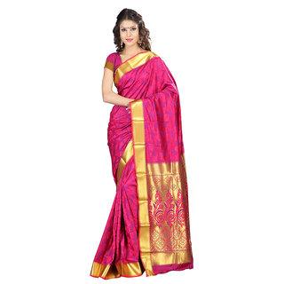 Varkala Silk Sarees Woven Art Silk Abstract Flower Rich Zari Pallu sareePink and VioletJP8106RNV