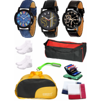 DCH AD-10 Pack of 3 Stylish Analogue Wrist Watches With Fashion Accessories For Men And Boy's