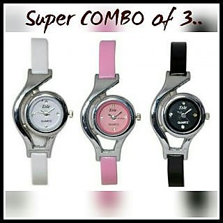 Round Dial Multi Leather Strap Analog Watch For Women(Combo)