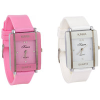 GLory Kawa Combo Of Two Watches-Baby Pink  White Rectangular Dial Kawa Watch For Women by  miss