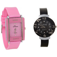 Glory Combo Of Two Watches-Baby Pink Rectangular Dial Kawa And Black Circular Dial Glory Watches By  miss