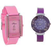 shree Combo Of Two Watches-Baby Pink Rectangular Dial Kawa And Purple Circular Dial Glory Watch by miss