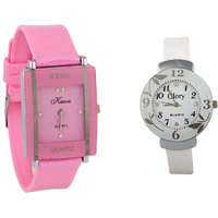 Glory Combo Of Two Watches-Baby Pink Rectangular Dial Kawa And White Circular Glory Watches by  miss