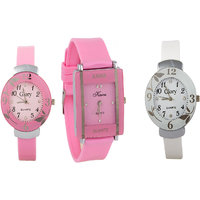 uttam Combo Of Three Watches- Pink And White Glory Pink Rectangular Dial Kawa Watch  by  miss