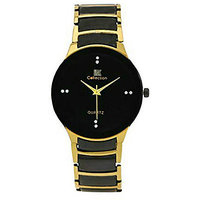 Iik Round Dial Black gold ledish Analog Watch For Men
