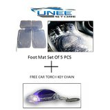 Uneestore Transparent Foot Mat Set Of 5 Pcs Full Size For Hyundai Elantra Fludic  With Free Gift Car Torch Key Chain