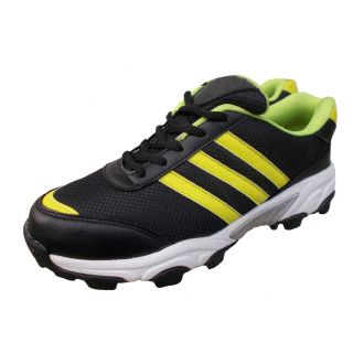 Port Mens Dank Black Yellow Pu Cricket Sports Shoes