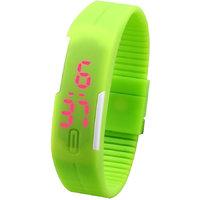 Jelly Slim Men Women Unisex Green LED Digital Casual Bracelet Band Led Watch by miss
