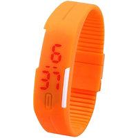 P  N Slim Men Women Unisex Orange LED Digital Casual Bracelet Band Led Watch by miss