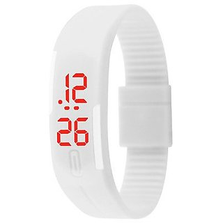 Casual LED White Bracelet Watch for Men Women by miss