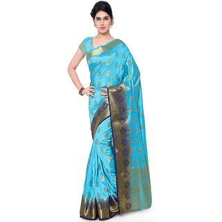 Varkala Silk Sarees Woven Art Silk Paisley Theme Dual Color SareeSky Blue and Navy BlueND1007ADNB