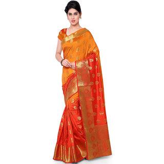 Varkala Silk Sarees Woven Art Silk Paisley Theme Dual Color SareeOrange and RedND1007ORRD