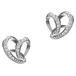 Vorra Fashion Platinum Over White CZ In 925 Sterling Silver Heart Stud Earrings