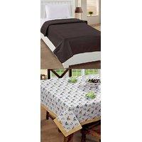 BSB Trendz Home Kitchen Combo (1 Table Cover+ 1 Fleece Blanket)