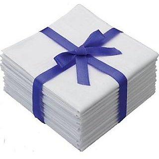 Set of 12 White Cotton Handkerchief (16 X 16)