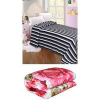 BSB Trendz Blanket Combo (1 Mink Blanket+1 Fleece Blanket)