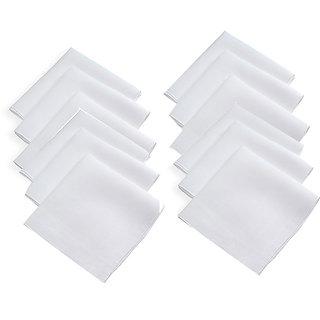 12 Piece 100 Cotton Mens Handkerchiefs (White)