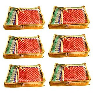 Atorakushon Pack 6 Saree Salwar Suit Cover Dress Protection Cover Garment Storage Box Bag