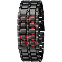 Black samurai steel red led digital watch cum bracelet for men women by miss
