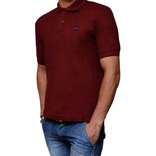 Youstore Men's Polo Neck T-shirt Maroon