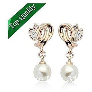 18K Gold Plated Flower Pearl Drop Earrings