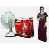 MERI 16 Inch Rechargeable Fan With LED Lights + Free KTG TRENDZ Cotton Nighty